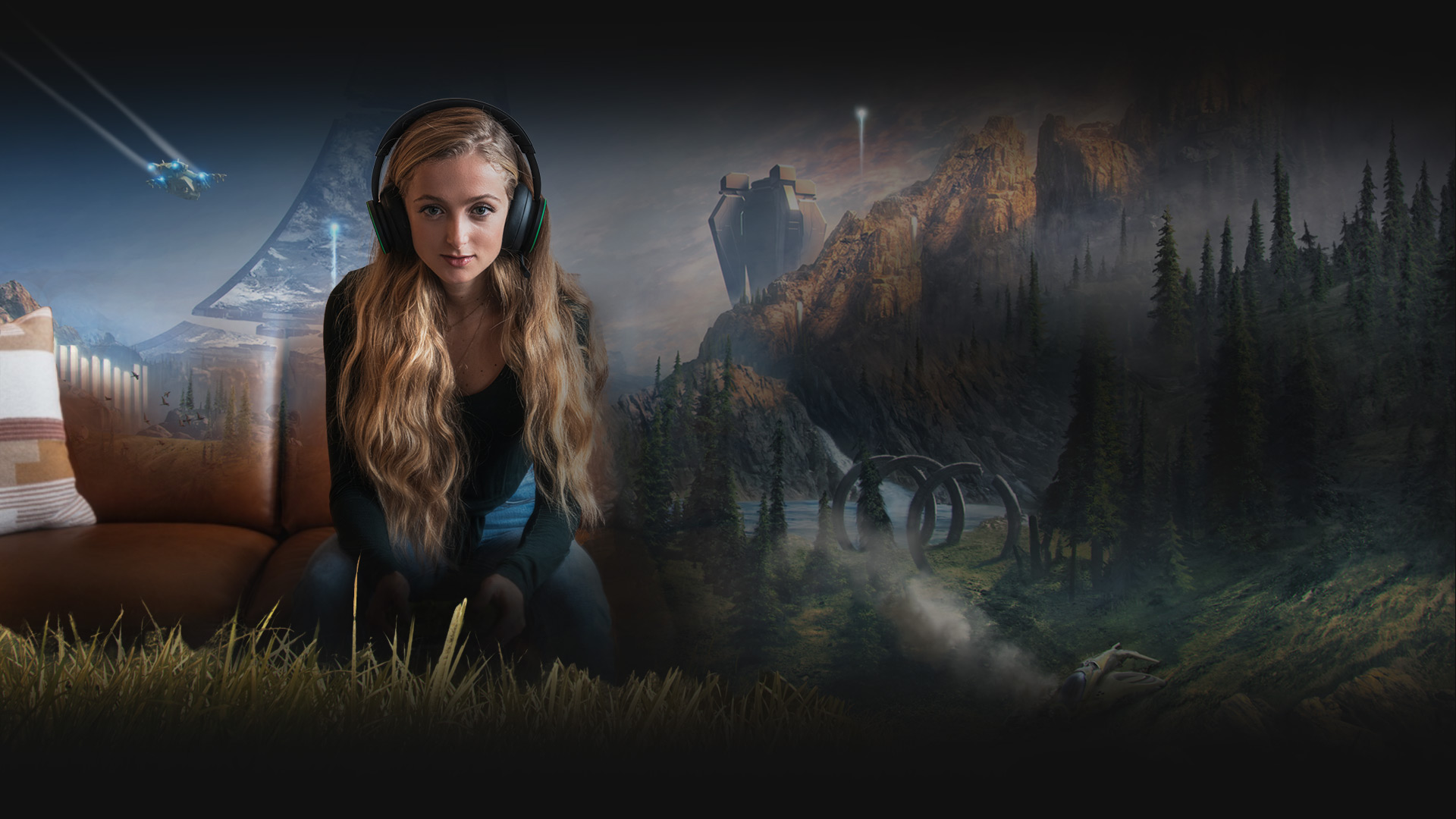 A woman wears the Xbox Wireless Headset on a sofa, immersed in the world of Halo Infinite.
