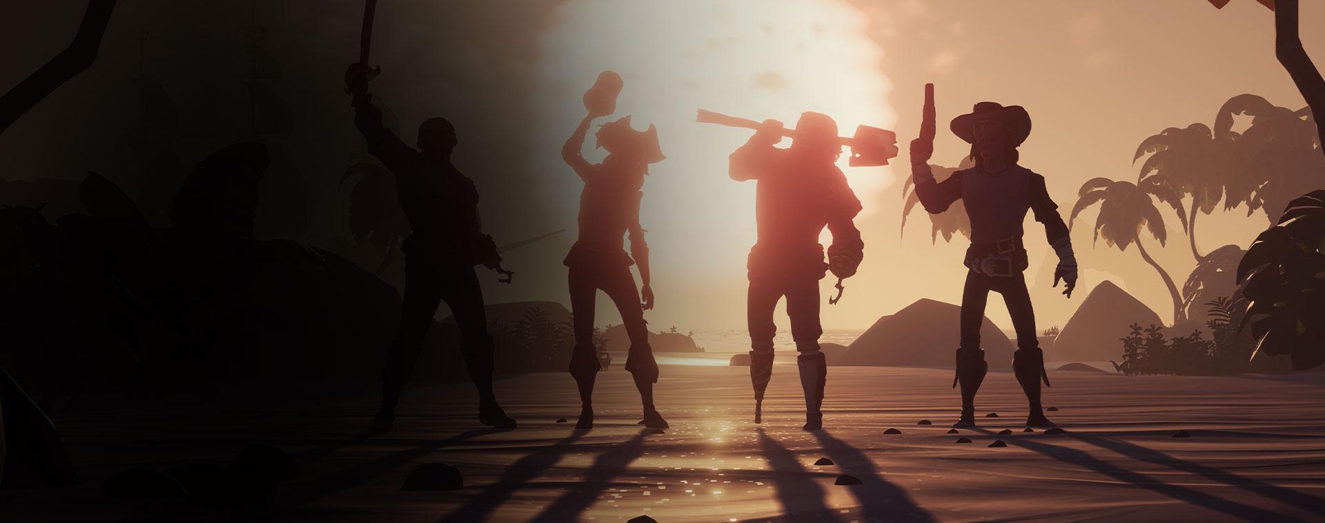 Cuatro personajes de Sea of Thieves posando, delante a una puesta de sol