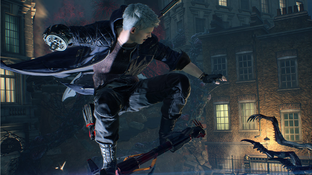 Nero rides his mechanical arm like a rocket toward an insect creature called empusa