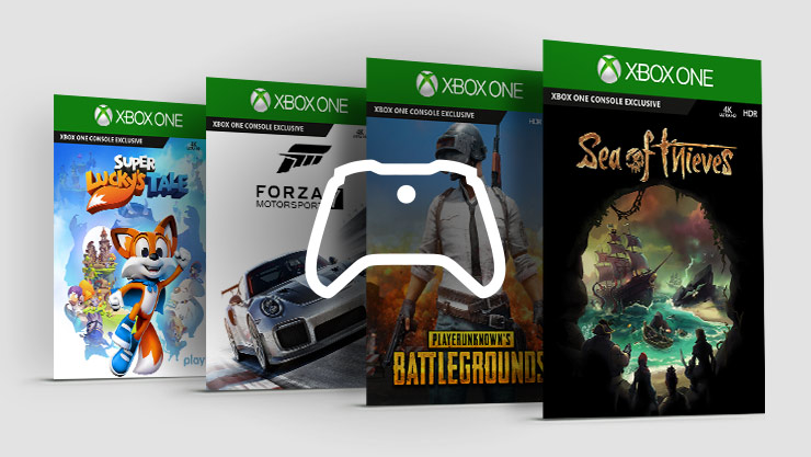 Sea of Thieves, PUBG, Forza Horizon 4, and Super Lucky's Tale game boxes staggered in a row with a white controller logo on top
