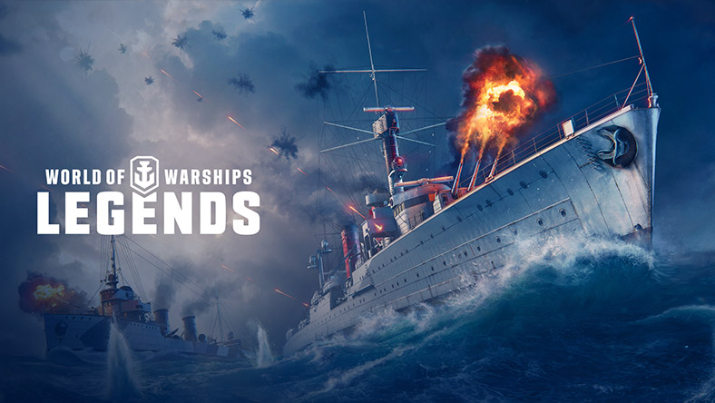 Worlds of Warships: Legends, Two battleships attacking each other and the World of Warships: Legends logo