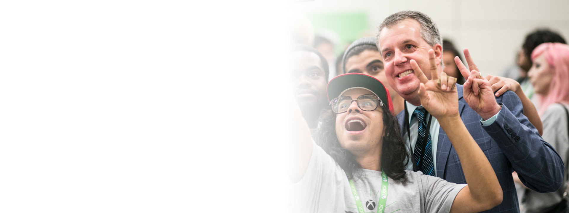 Xbox FanFest, group of three people taking a selfie together