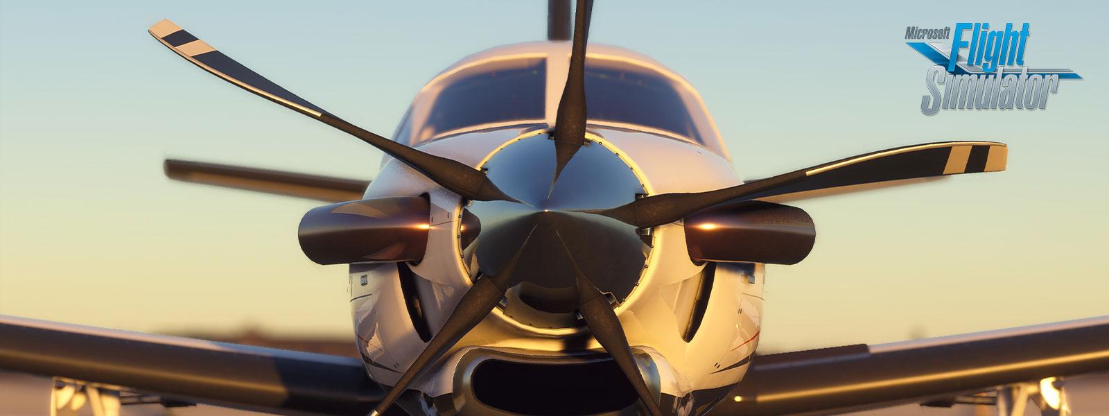 Vista frontal de un avión en tierra
