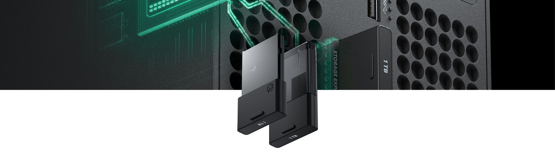 Seagate Storage Expansion Card for Xbox Series X with a close-up of card inserted into an Xbox Series X