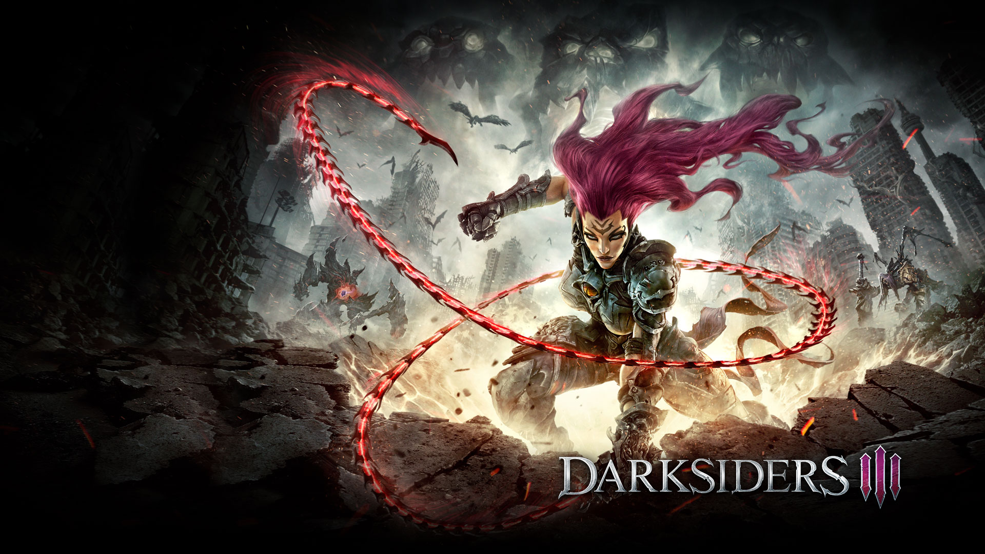 Darksiders 3, Fury unleashing her whip in a demolished city scape.