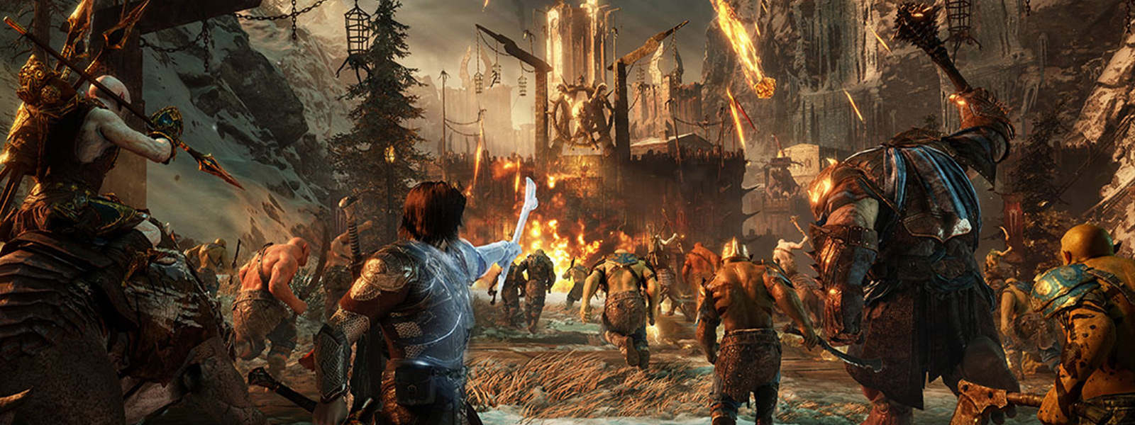 Talion directs army of orcs to attack a gate of Mordor