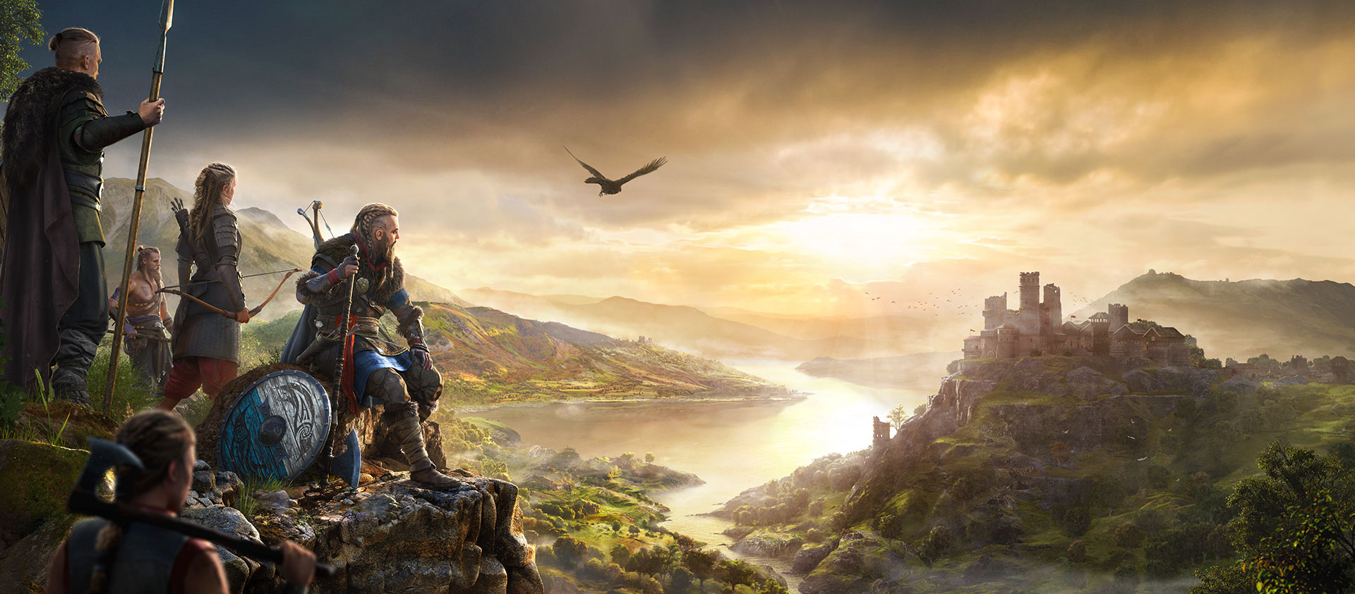 Legendary Viking raider Eivor looks out across a beautiful vista, composed of a winding river, distant castle, and village below. His clan stands behind him, weapons at the ready.