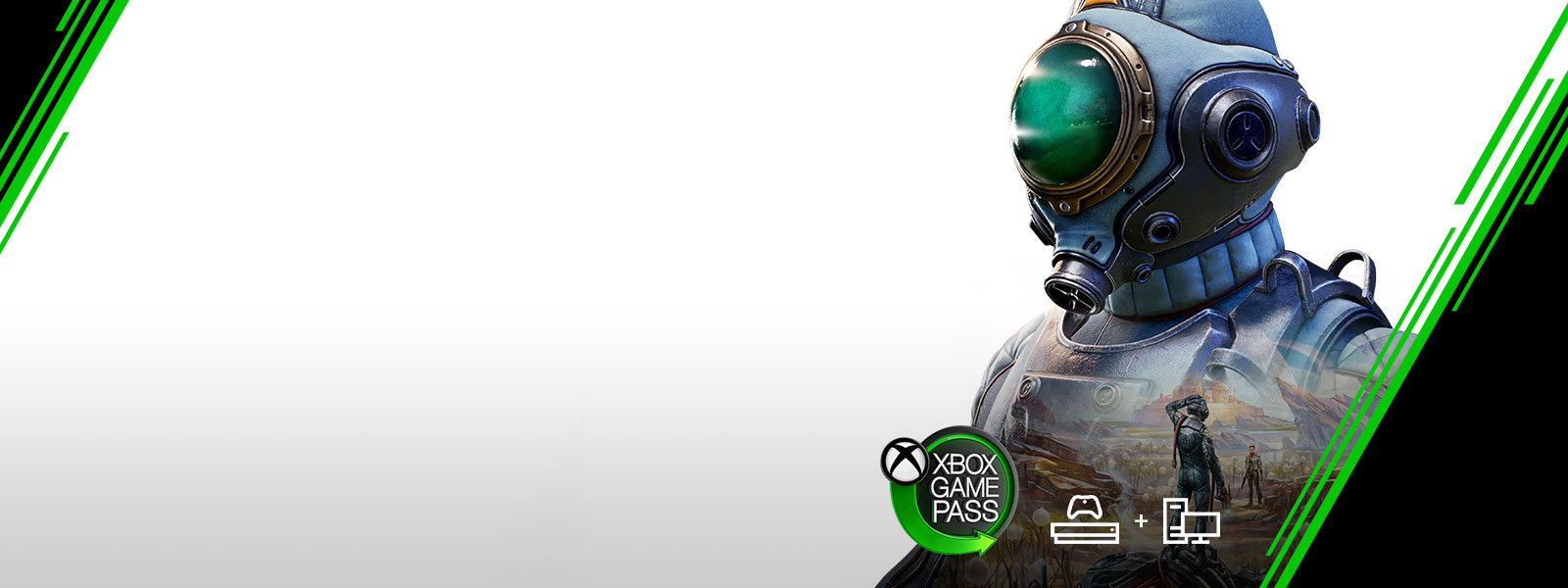 Xbox Game Pass logo, Man in a spacesuit with game art showing over his chest