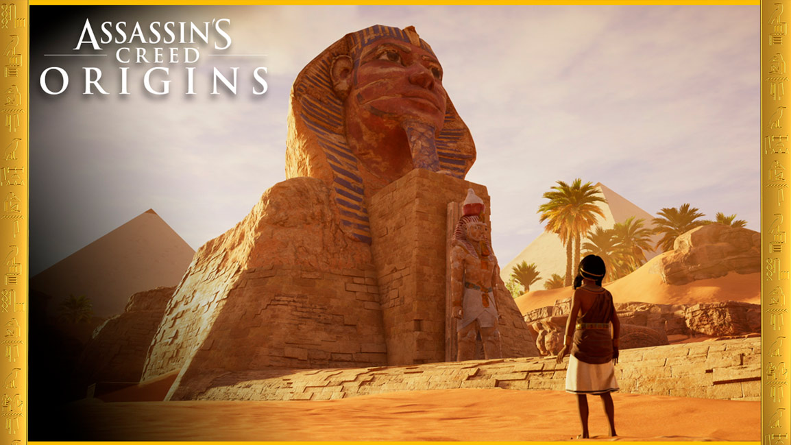 Assassin's Creed Origins,  A young girl stands in front of the Great Sphinx of Giza