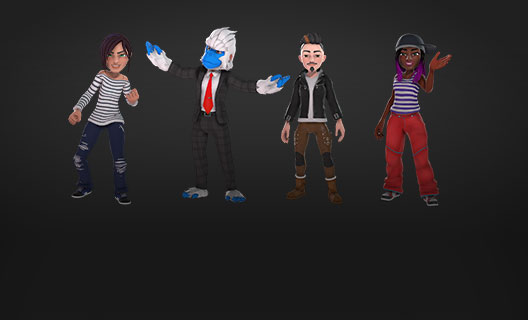 Four Xbox Ambassador avatars woman with stripe shirt, blue gorilla guy, cool guy and African American woman