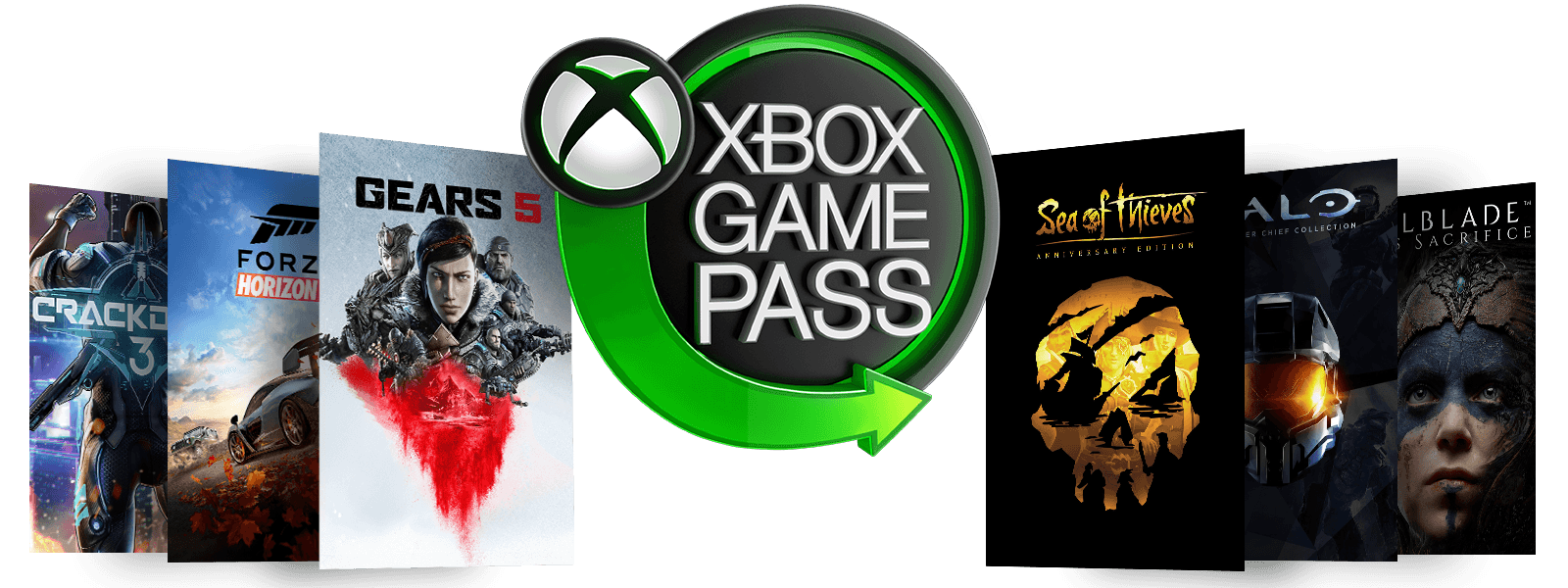 Логотип Neon Xbox Game Pass в окружении обложек игр Forza Horizon 4, Playerunknown Battleground, Crackdown 3, юбилейный выпуск sea of thieves, halo и Hellbade: senua's sacrifice