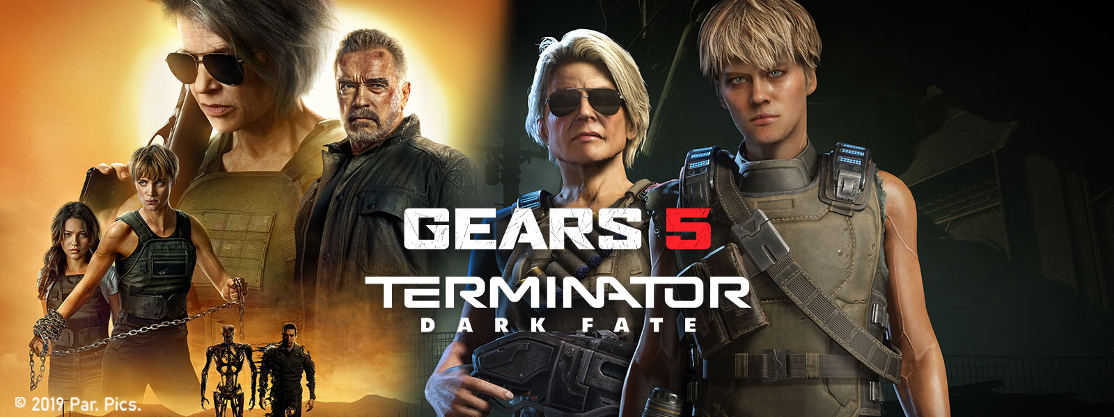 Gears 5, Terminator Dark Fate movie poster with front view of in game characters Grace and the Rev-9 Terminator