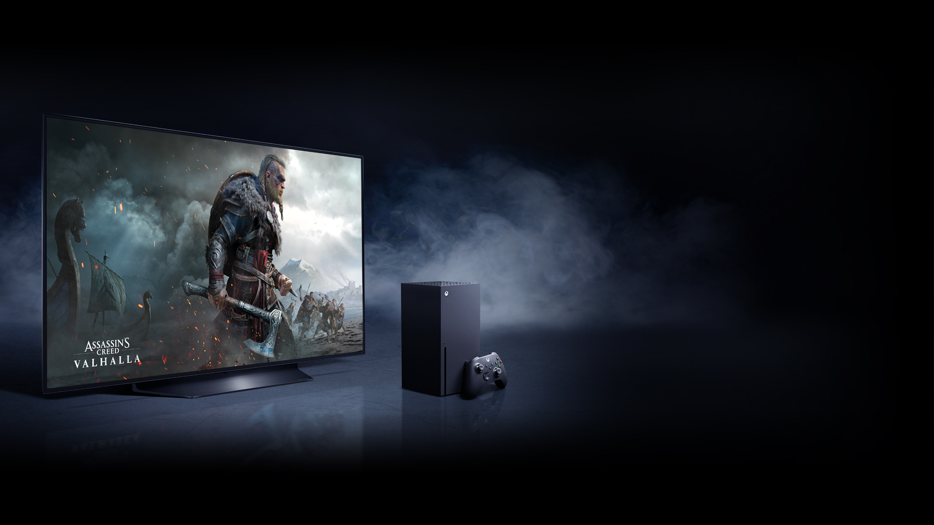 An Xbox Series X alongside an LG OLED TV with a visual from Assassin's Creed Valhalla that features its protaganist, Eivor, and other vikings