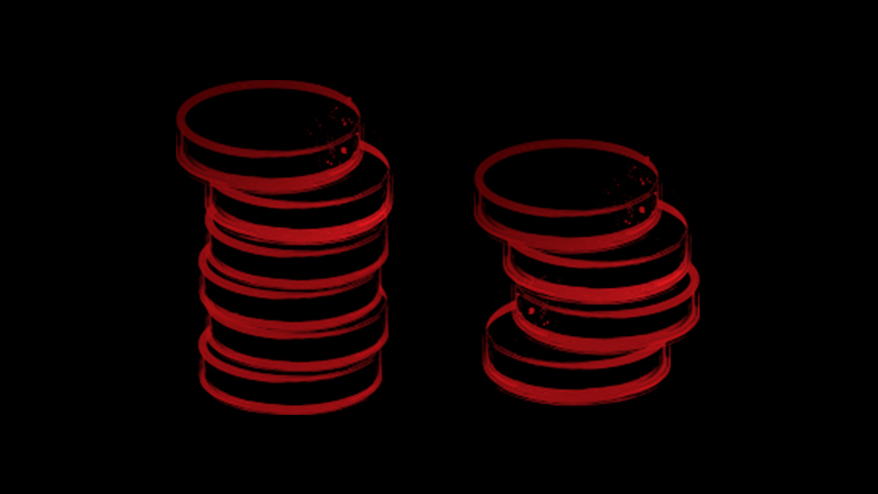 Red sketch of stacked coins