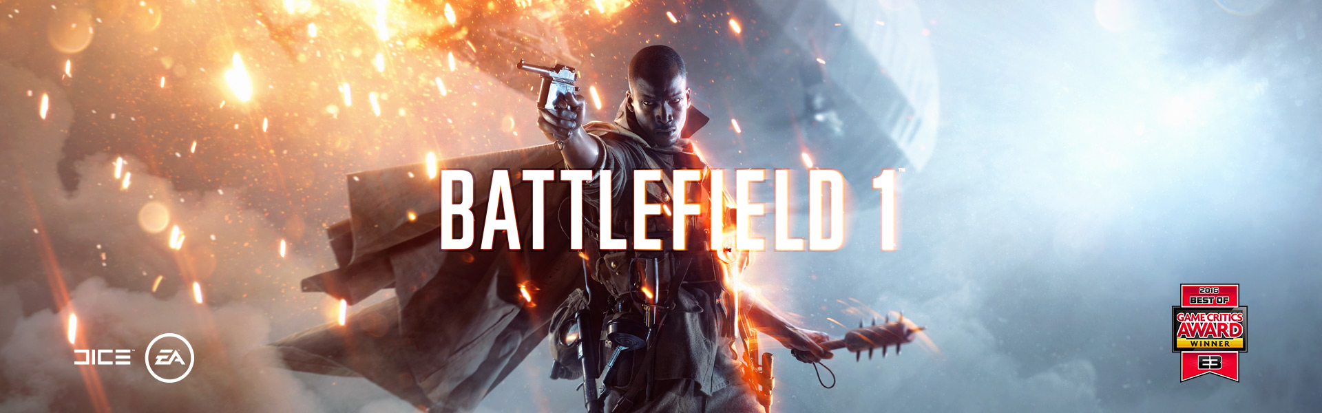 Battlefield 1 character facing forwards while pointing gun, holding grenade, and a zeppelin on fire in the background