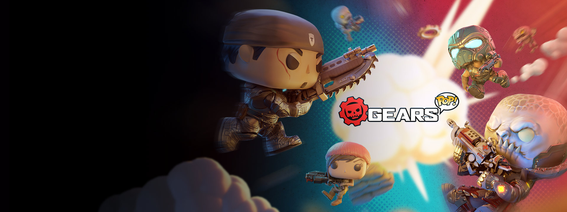 Gears POP, Geras funko pop figures clash around smoke from an explosion