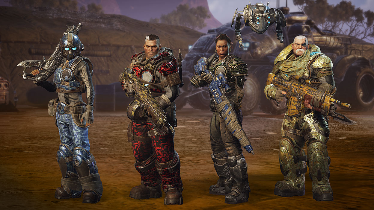 Characters Specter, Gabe Diaz, Mikayla Dorn, Sid Redburn in armour carrying guns with a large vehicle in the back.
