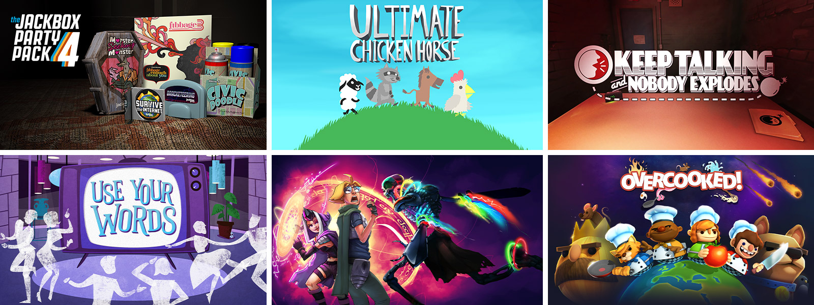 Game graphics for Jackbox Party Pack 4, Ultimate Chicken Horse, Keep Talking and Nobody Explodes, Use Your Words, The Metronomicon: Slay the Dance Floor and Overcooked