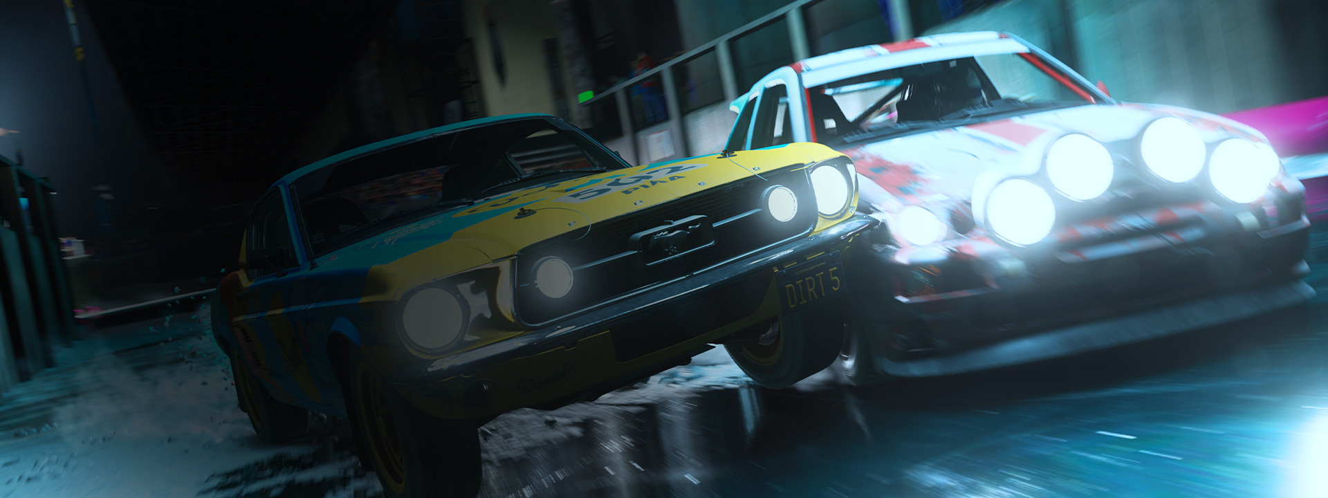 Mustang racing another car in DIRT 5