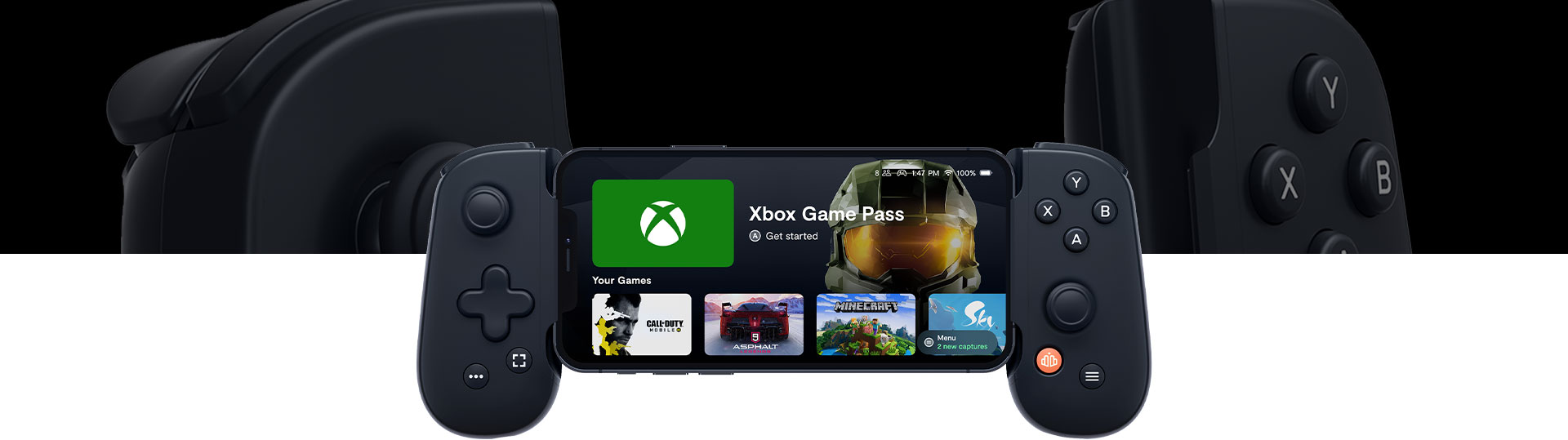 Backbone One home screen with Xbox Game Pass, Call of Duty, Asphalt, Minecraft, and Sky.
