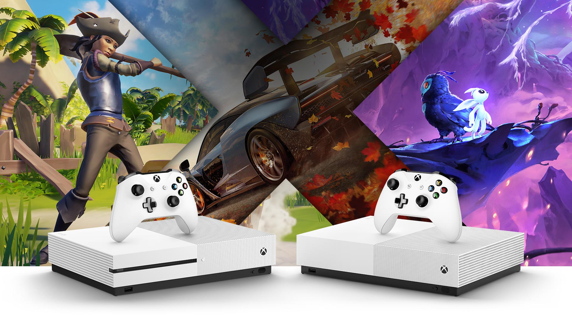 Pohled zepředu na Xbox One S a Xbox One S All Digital Edition, kolem obrázky z her Sea of Thieves, Forza Horizon 4, Ori and the Will of Wisps
