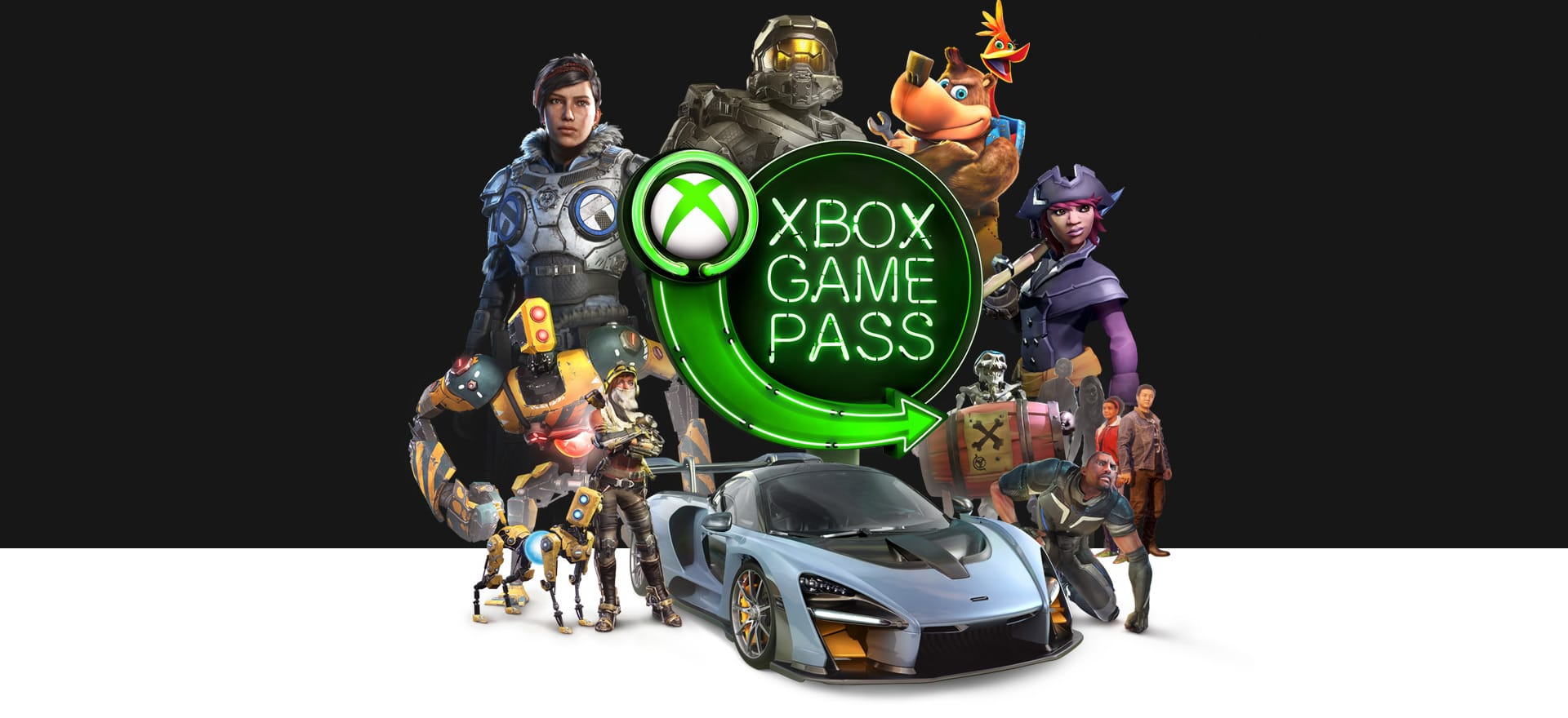 Collage van gamepersonages rond het bordje van de Game Pass.