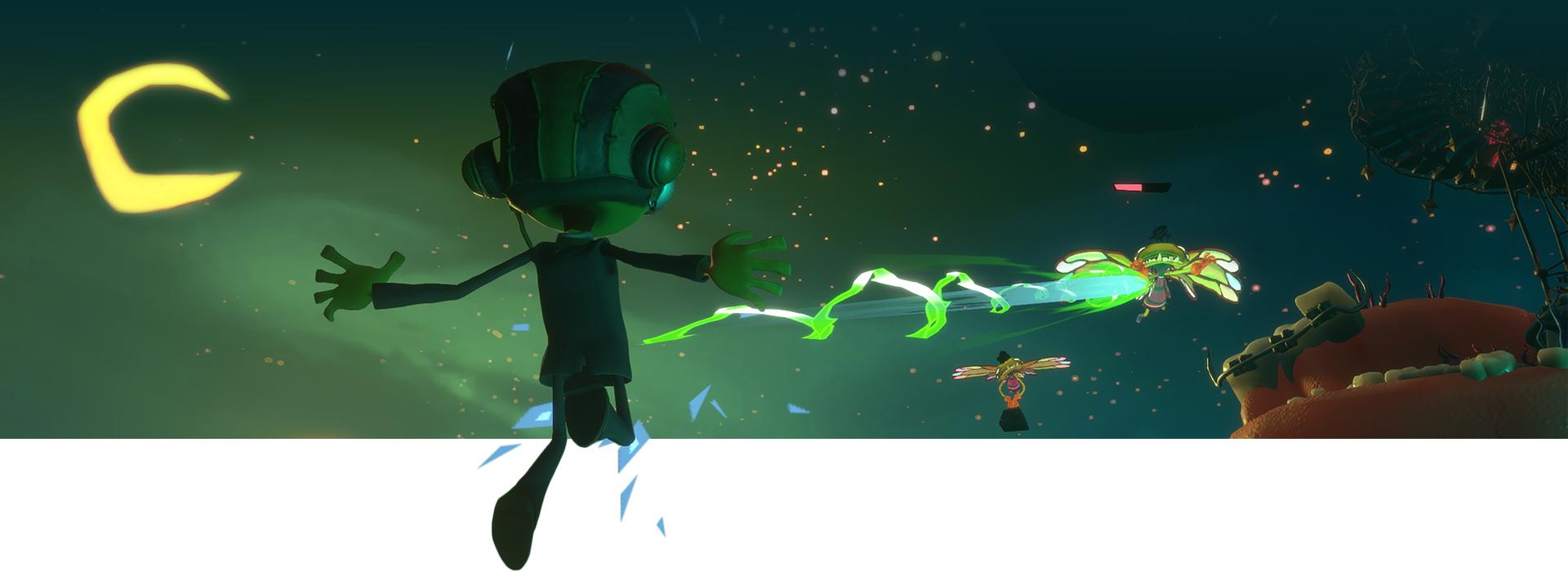 Ο Raz σηκώνεται στον αέρα και ρίχνει πράσινο φως σε έναν εχθρό με φόντο τον νυχτερινό ουρανό.