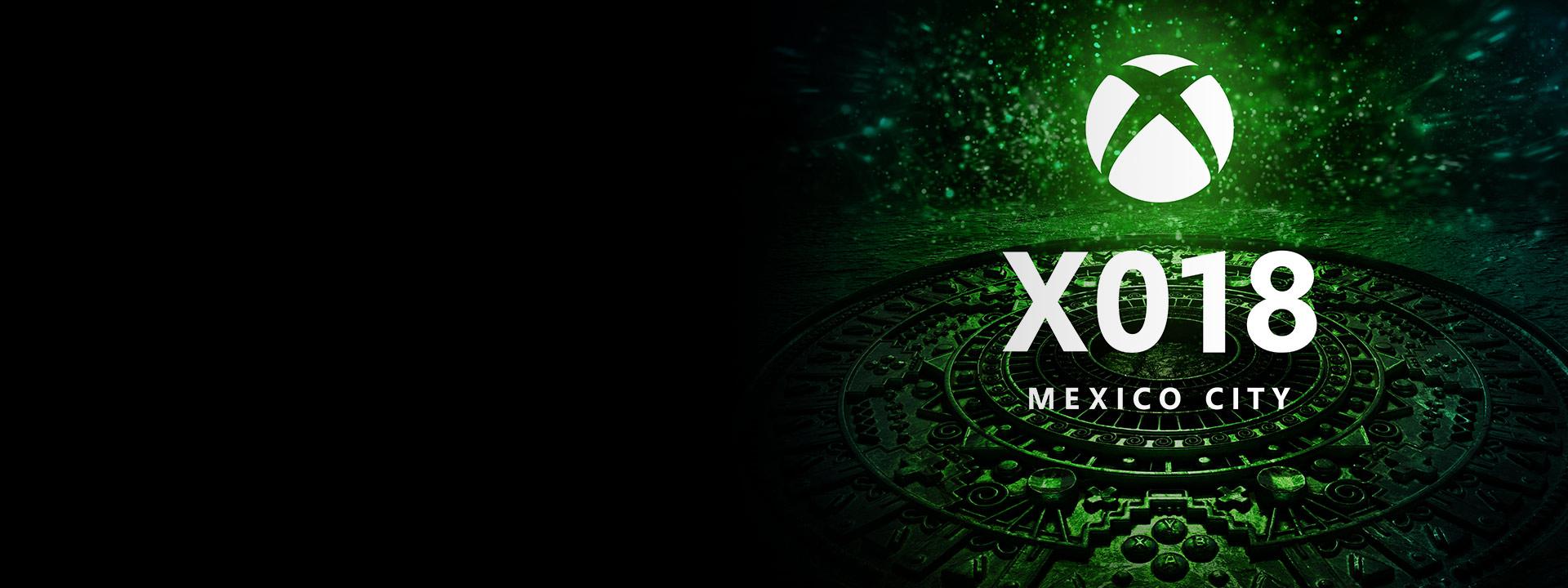 X018 墨西哥城,阿兹特克日历风格的黑色和绿色圆形以及白色圆形 Xbox 徽标。