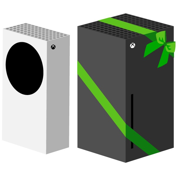 xbox series s and gift-wrapped xbox series x side by side