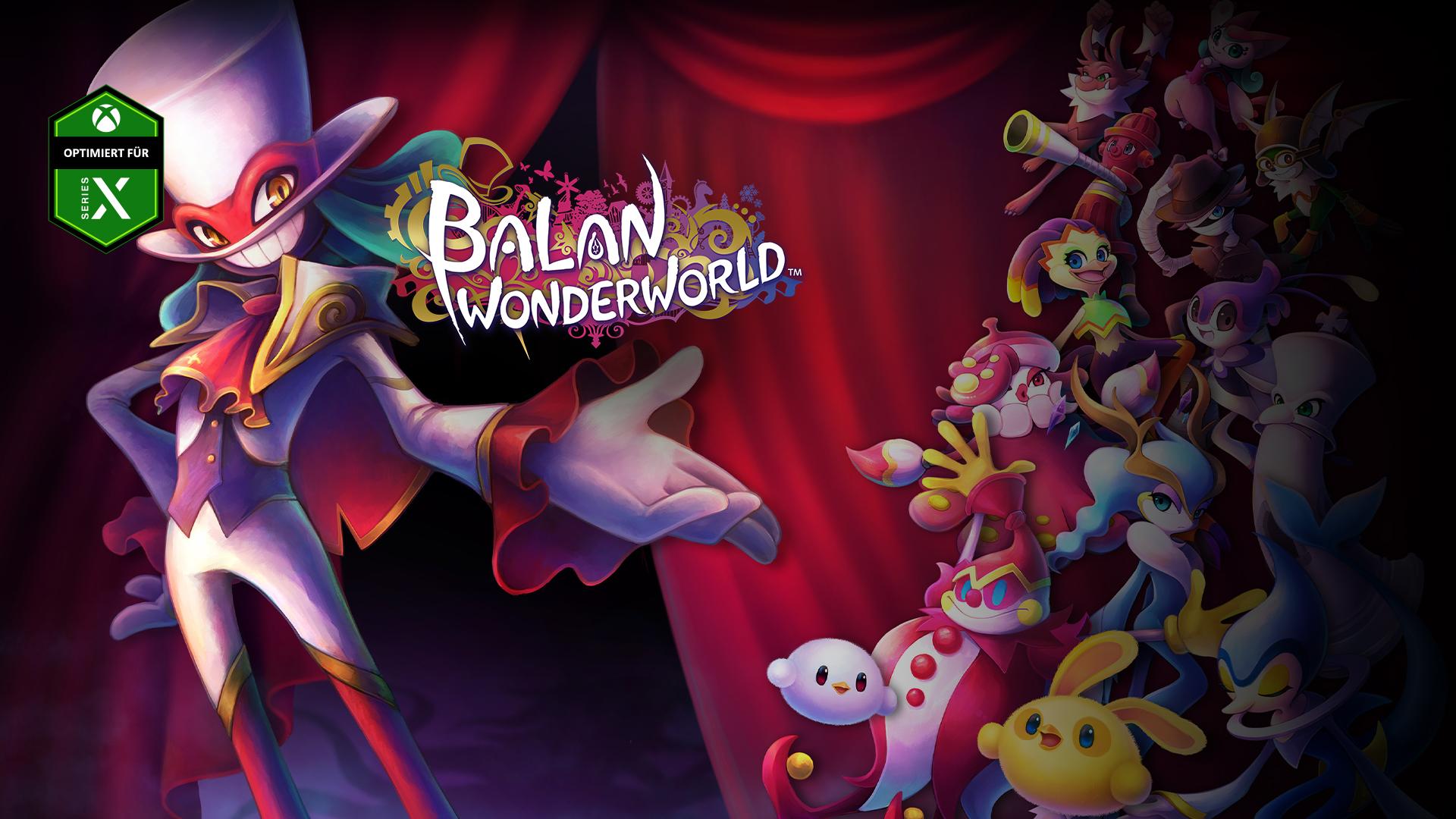 Optimiert für Series X, Balan Wonderworld, Ein gut gekleideter Dämon gestikuliert gegenüber einer Gruppe bunter Kreaturen.