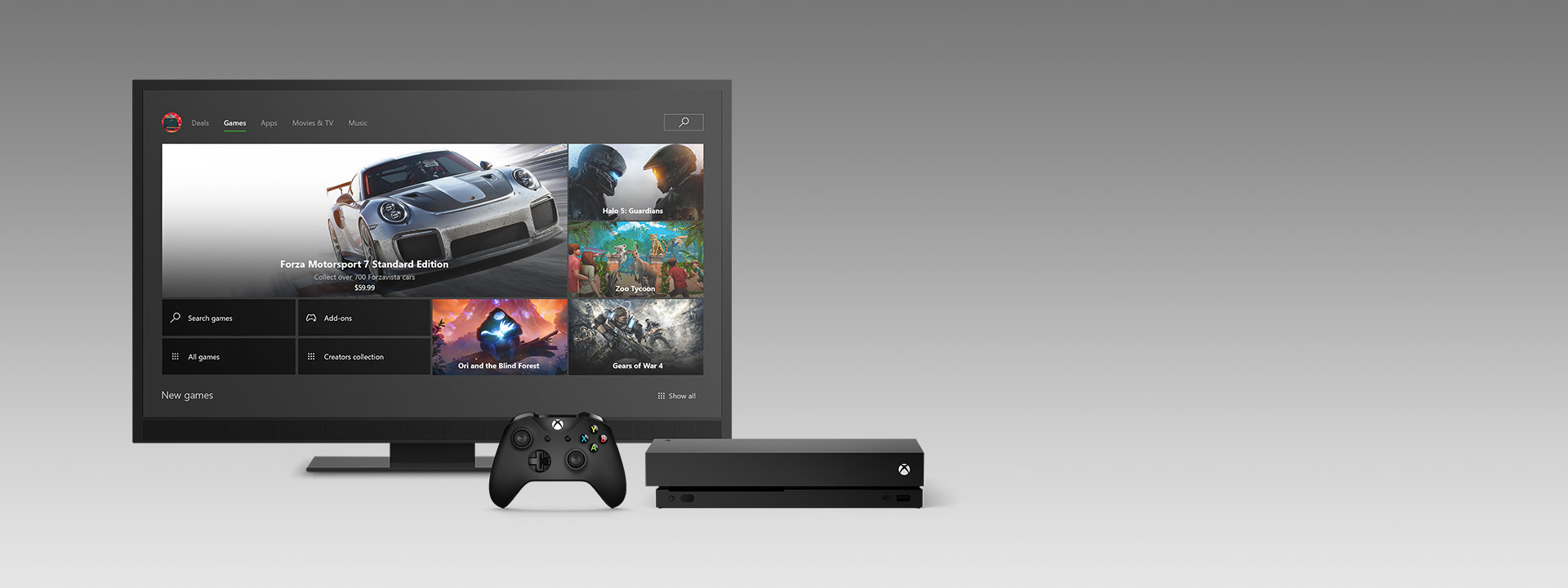 A TV showing the Xbox One Dashboard with an Xbox One X and Controller below