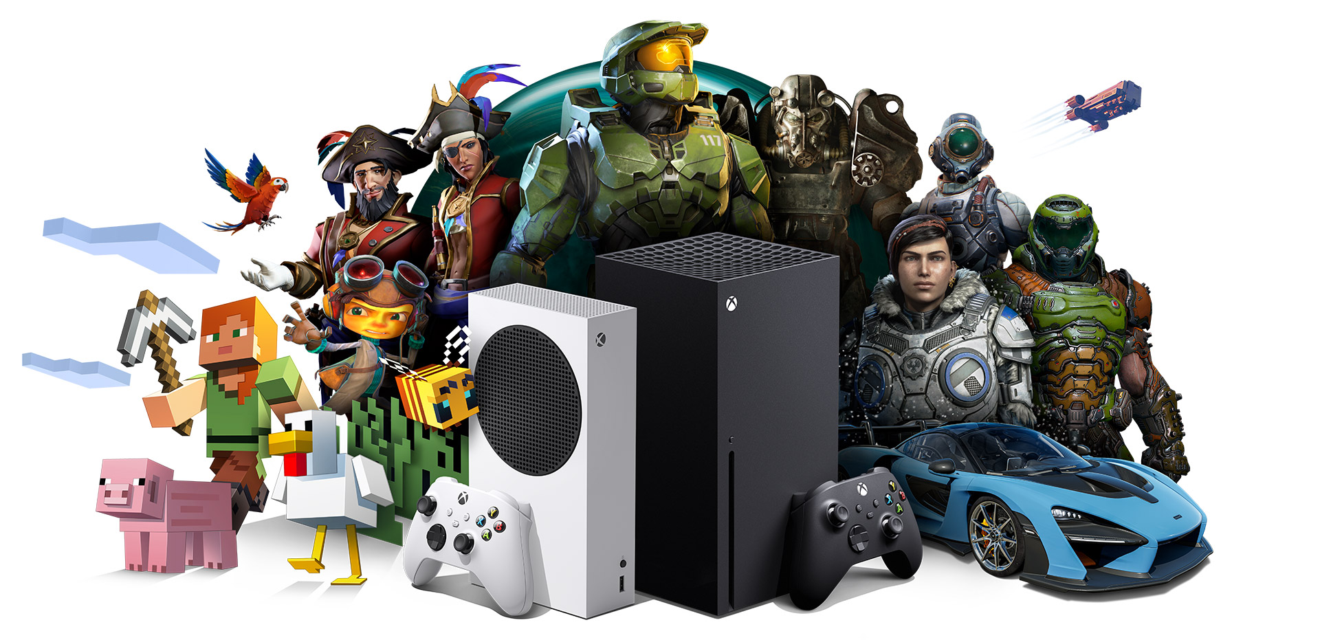 Xbox All Access, Xbox SeriesX and Xbox SeriesS with Xbox game characters