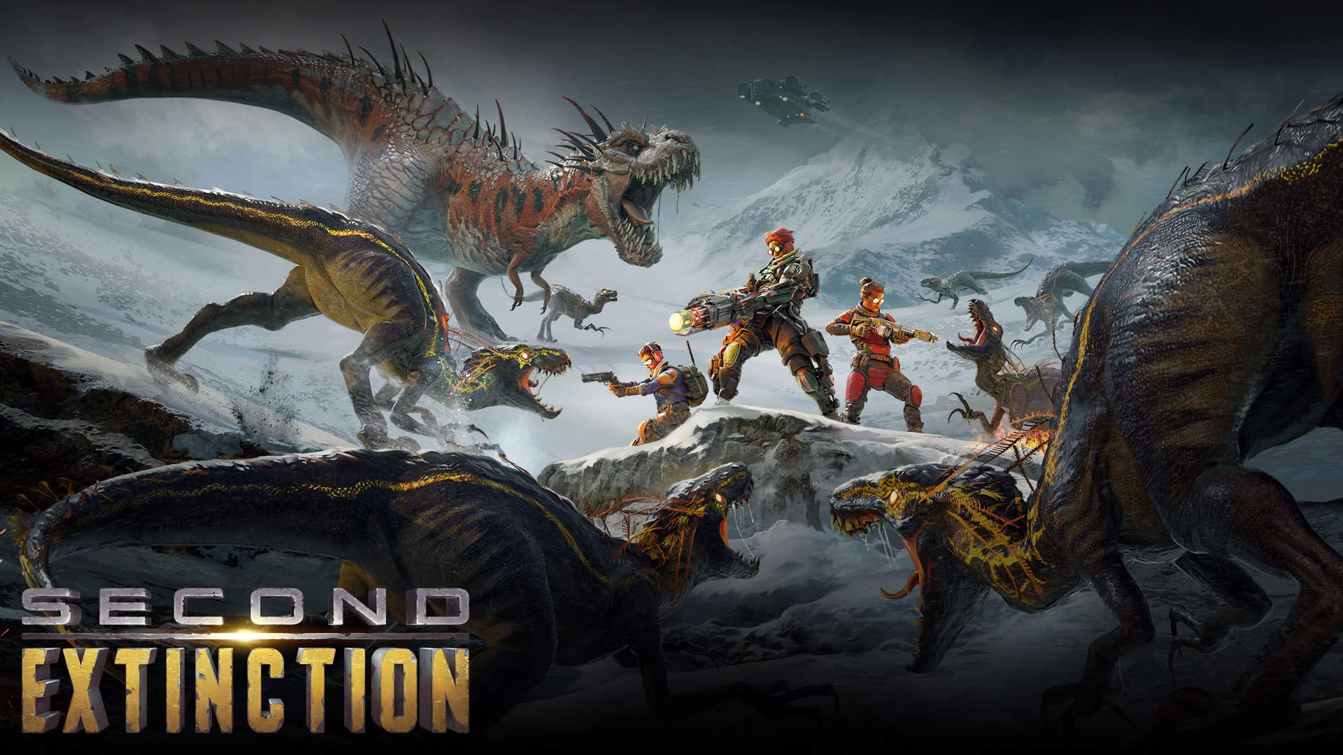 Second Extinction, a group of characters clash with a group of dinosaurs.