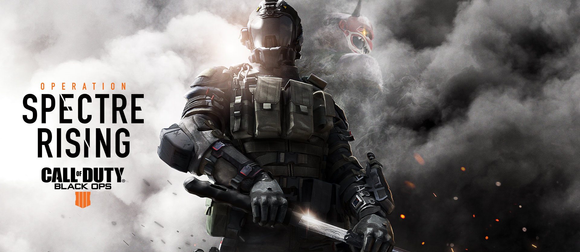 Operation Spectre Rising, Call of Duty: Black Ops 4 logo, character in full black military gear with a sword in white and grey smoke and a smokey figure with a mask behind him
