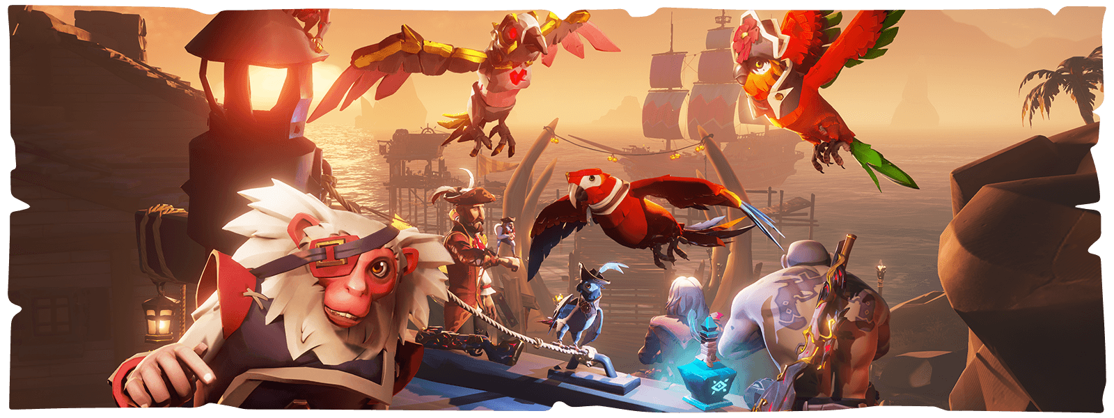 Characters, parrots, and a monkey in front a ship port from Sea of Thieves
