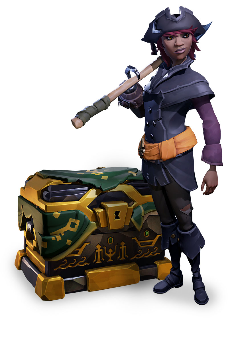 A pirate from Sea of Thieves guards an elegant treasure chest.