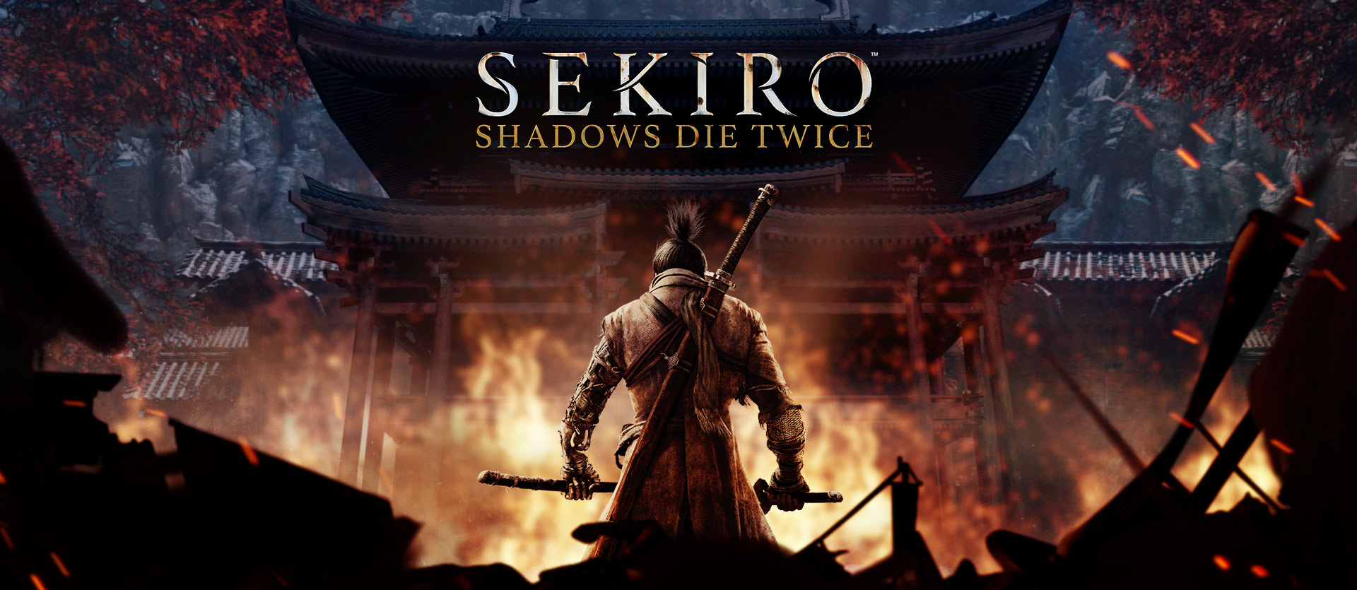 Sekiro Shadows Die Twice, A samurai kneels in front of a burning Japanese temple