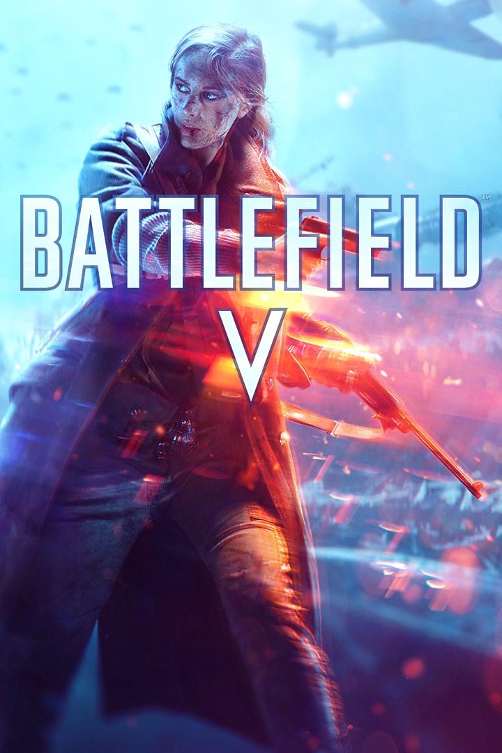 A packshot of Battlefield 5 above text,