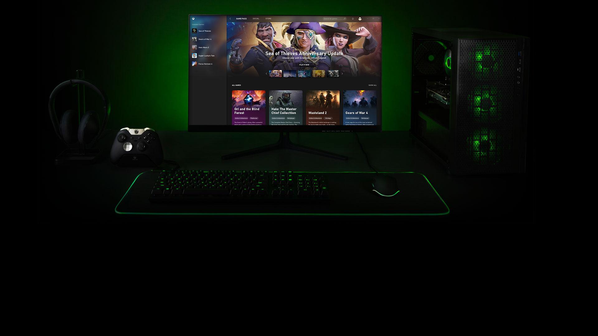 Windows 10 bilgisayar için Xbox uygulamasını gösteren bilgisayar ekranı