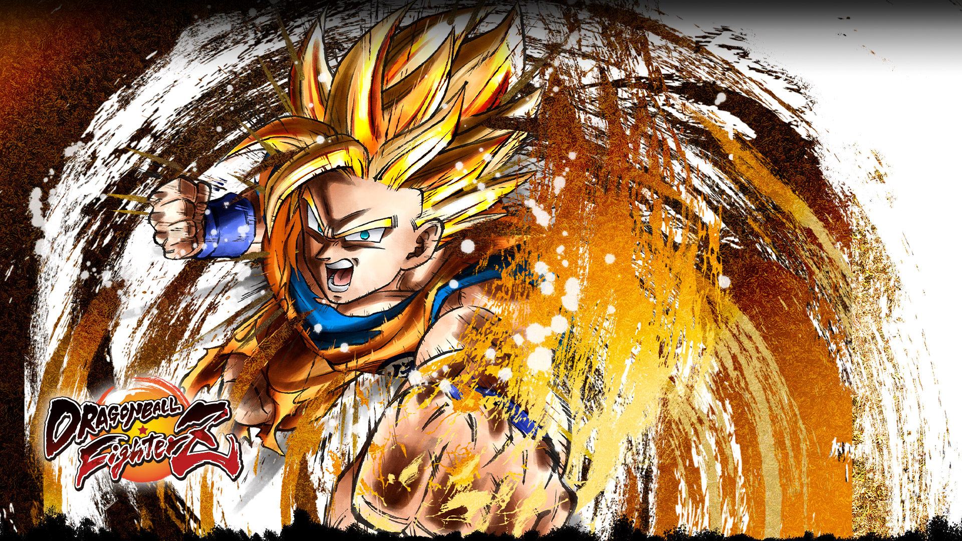 Super Saiyan Goku leaping forward with a flaming fist