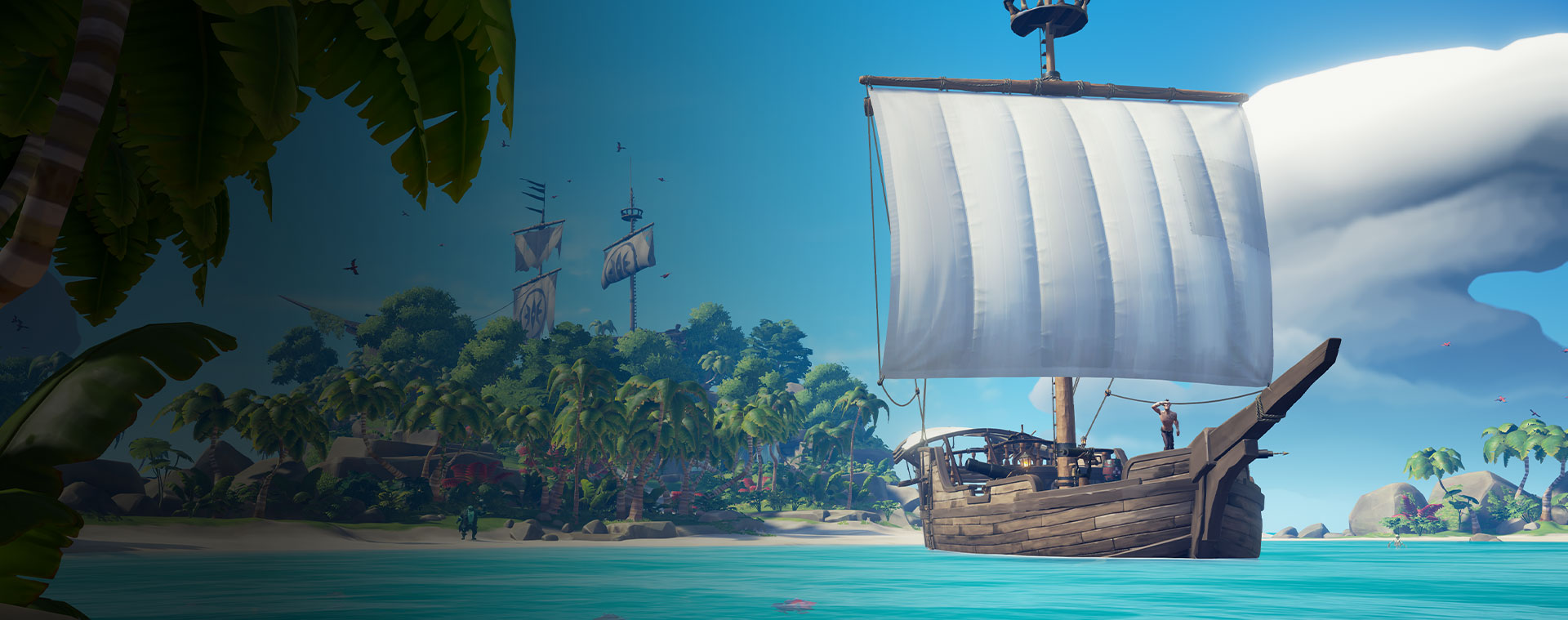 Ship from Sea of Thieves going away from an island