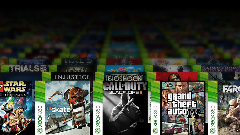 Collage of xbox 360 games - Star Wars complete saga Skate 3 Call of Duty Black Ops 2 Grand Theft Auto 4 Farcry 3 box shots