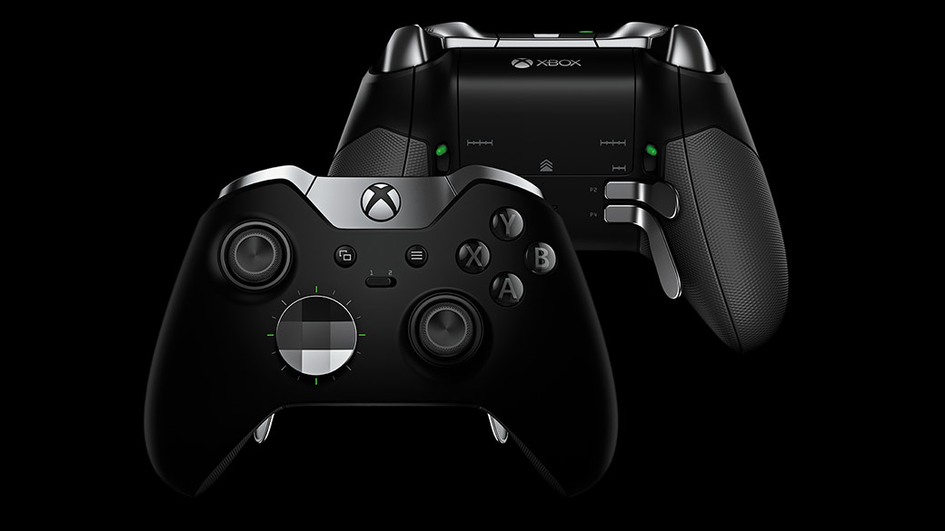 Vista frontal e posterior do Comando Xbox Elite