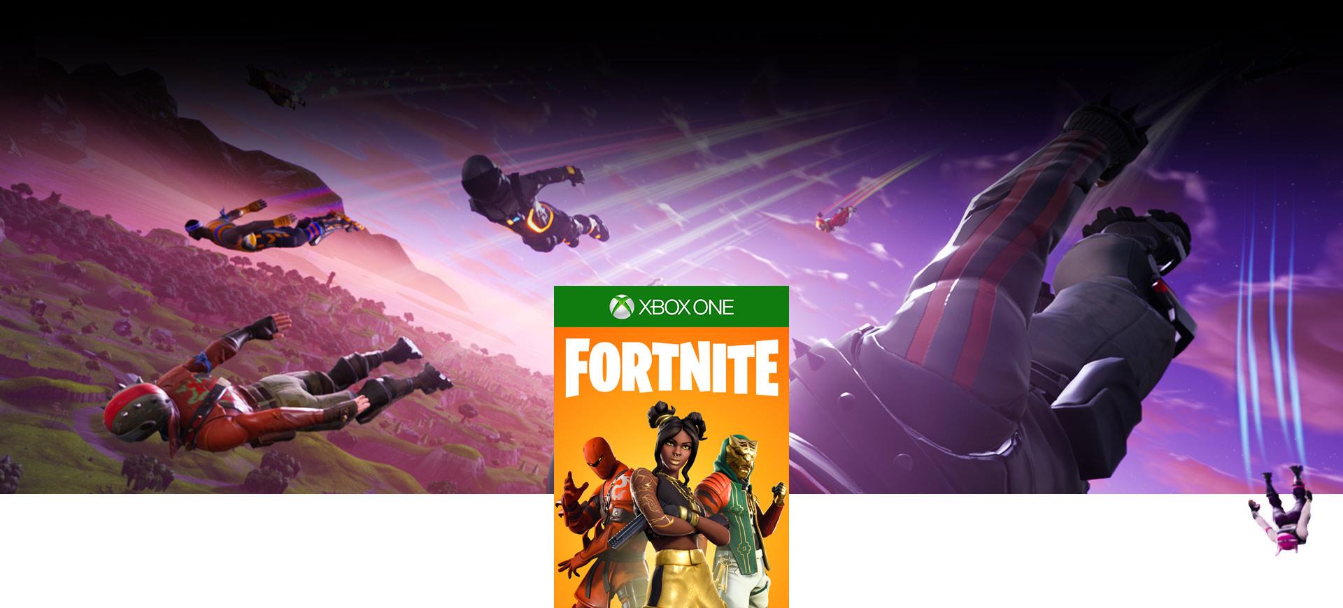 Image de la boîte Fortnite, Personnages de Fortnite sautant en parachute