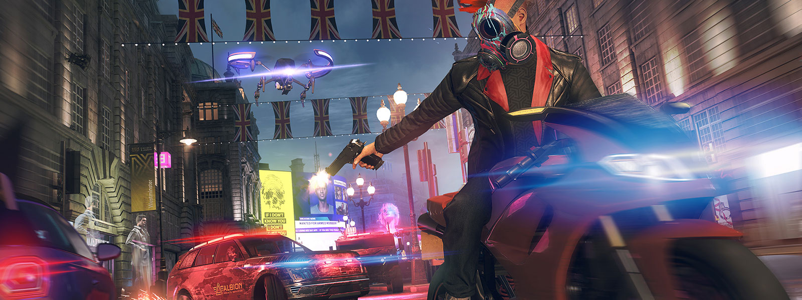 Person on a motorcycle with a painted gas mask shooting towards a police car while being chased by a drone on a street in London