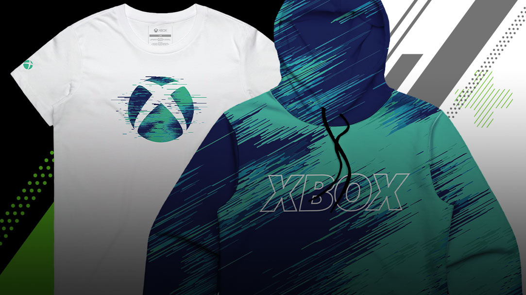 Produits de la collection Xbox Summer, y compris un t-shirt et un sweat à capuche.