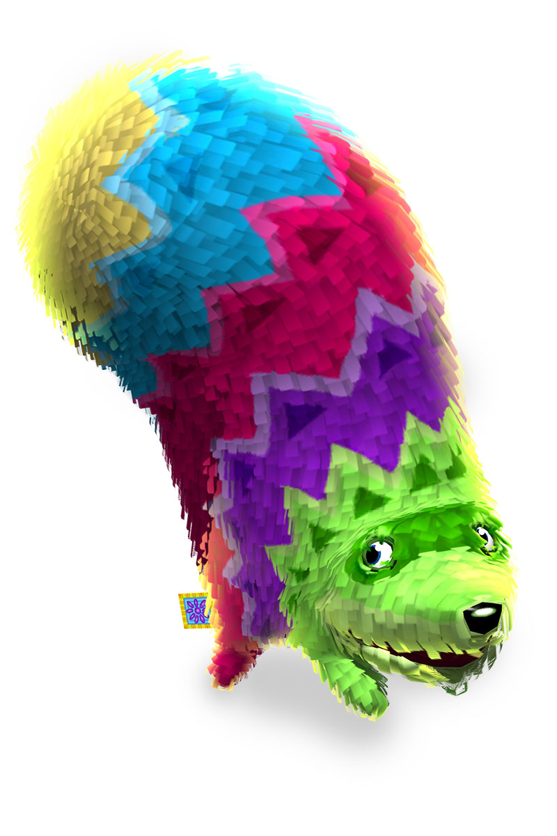A colorful pinata from Viva Pinata looks up expectedly.