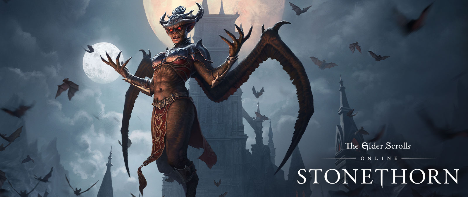 The Elder Scrolls Online Stonethorn, A vampire surrounded by bats flies at night in front of a large tower