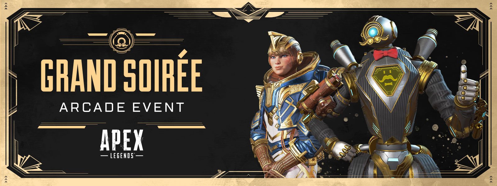 Grand Soirée arcade event, Apex Legends, two characters stand in fancy, old timey event skins.