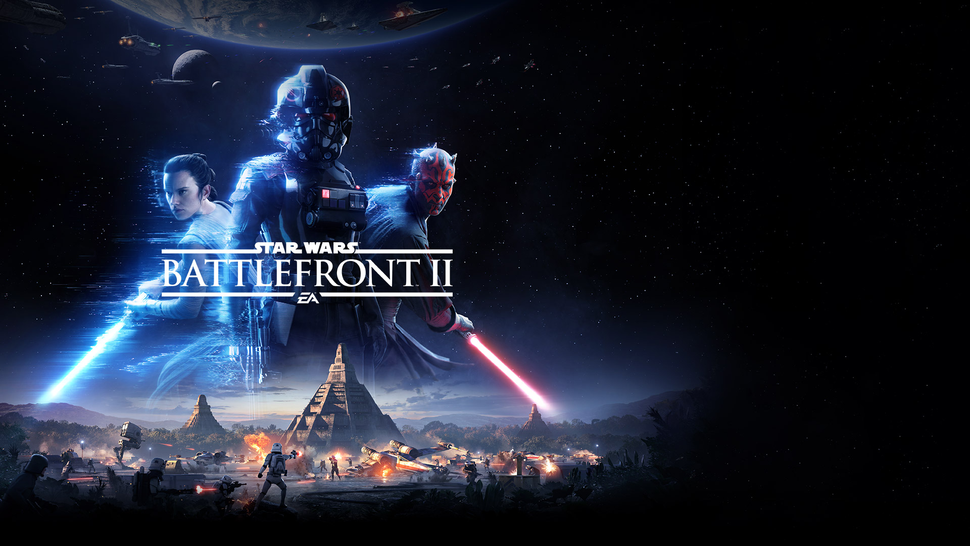 EA, Star Wars Battlefront 2, Iden Versio, Rey and Darth Maul with a starry background